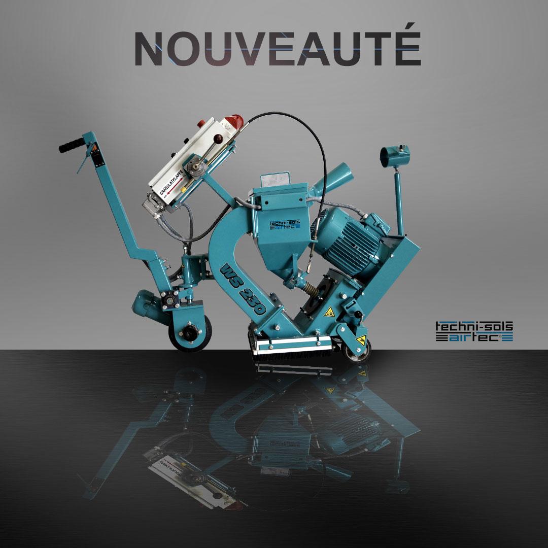 Visuel d'une grenailleuse bleue proposée par Technisols Airtec
